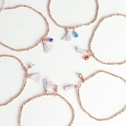Rose Gold Birthstone Bracelet with Tassel
