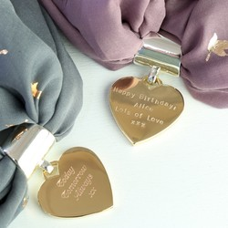 Personalised Gold Heart Scarf Ring