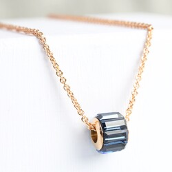 Personalised Navy and Rose Gold Crystal Bead Necklace