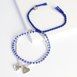 Puffed Heart Friendship Bracelet with Initial Charm