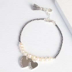 Personalised Double Heart Twisted Cord & Pearl Bracelet