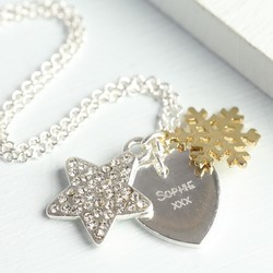Personalised Winter Wishes Necklace with Gold Snowflake Charm