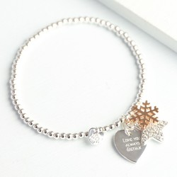Personalised Winter Wishes Bracelet with Rose Gold Snowflake Charm