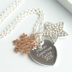 Personalised Winter Wishes Necklace with Rose Gold Snowflake Charm