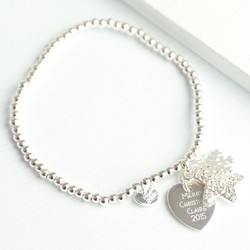 Personalised Winter Wishes Bracelet with Silver Snowflake Charm