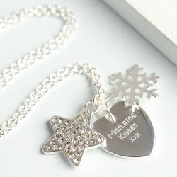 Personalised Winter Wishes Necklace with Silver Snowflake Charm