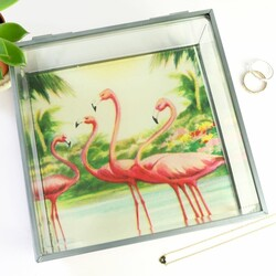 Temerity Jones Glass Trinket Box with Flamingo Base