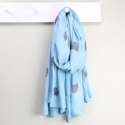 Grey & Blue Cat Face Scarf