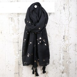 Foil Flying Birds Scarf in Black with Copper Birds