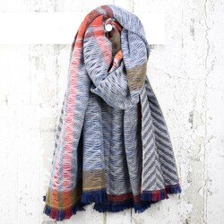 Geometric Double Sided Wave Print Blanket Scarf