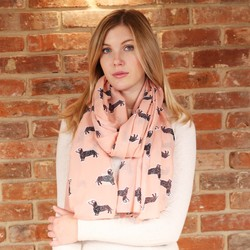 Illustrated Sausage Dog Scarf in Pink