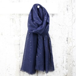 Navy Metallic Stars Scarf