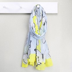 Neon Yellow Border Butterfly Scarf