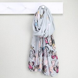 Pale Grey Butterfly Scarf