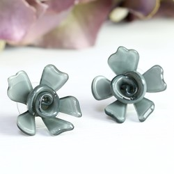 Acrylic Rose Stud Earrings in Grey