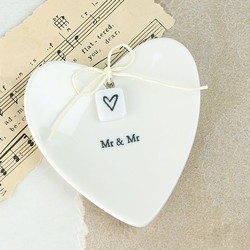 East of India Mr & Mr Ceramic Heart Ring Dish