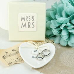 East of India Mrs & Mrs Ceramic Heart Ring Dish