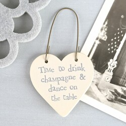 East of India 'Drink Champagne & Dance on the Table' Tiny Little Heart Sign