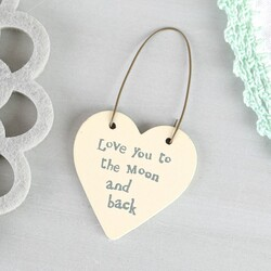 East of India 'Love You to the Moon and Back' Tiny Little Heart Sign