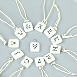 East of India Little White Porcelain Square Letter Decoration