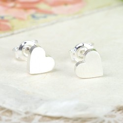 Brushed Sterling Silver Heart Stud Earrings
