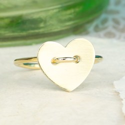 Gold Heart Button Ring