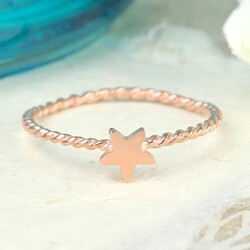 Rose Gold Rope Band Star Ring