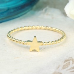 Gold Rope Band Star Ring