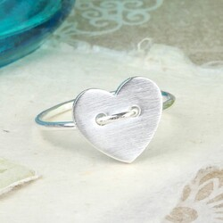 Silver Heart Button Ring