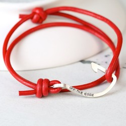 Men's Personalised Red Leather Cord and Hook Bracelet