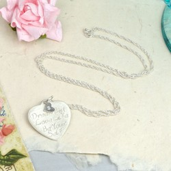 Personalised 'Dream Big' Brushed Silver Heart Necklace