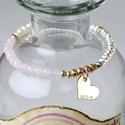 Personalised Dainty Romantic Rose Quartz Bracelet