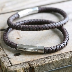 Engraved Men's 'Trigger Happy' Leather Bracelet in Brown