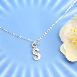 Sterling Silver Initial Shape Necklace