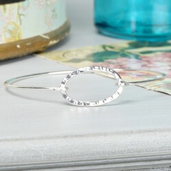 Silver Hammered Oval Skinny Bangle