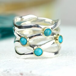 Sterling Silver Turquoise Wave Ring