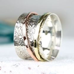 Mixed Metal Spinning Silver Decorative Ring