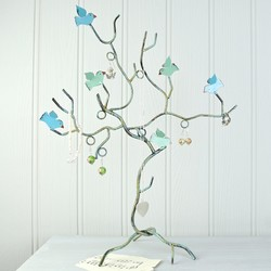 Teal Bird Branch Jewellery Tree