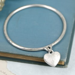 Danon Silver Hammered Heart Bangle