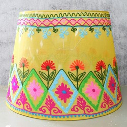Disaster Designs 'Folklandia' Large Yellow Embroidered Lampshade