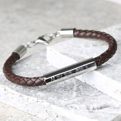 Personalised Men's Brown Leather Tube Bracelet