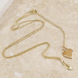 Personalised Estella Bartlett Gold Feather Necklace