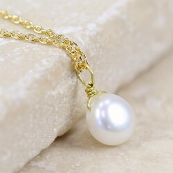 Estella Bartlett Dainty Pearl Necklace in Gold