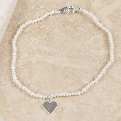 Personalised 'Lottie' Pearl Bracelet with Silver Heart Charm