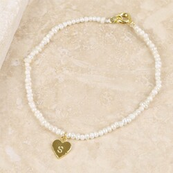 Personalised 'Lottie' Pearl Bracelet with Gold Heart Charm