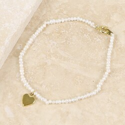 Estella Bartlett 'Lottie' Pearl Bracelet with Gold Heart Charm