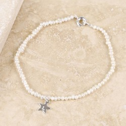 Personalised 'Lottie' Pearl Bracelet with Silver Star Charm