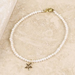 Personalised 'Lottie' Pearl Bracelet with Gold Star Charm