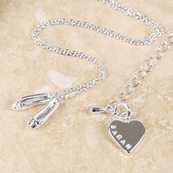 Personalised Ballet Shoes Necklace in Silver