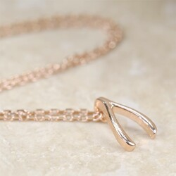 Estella Bartlett Miniature Wishbone Bracelet in Rose Gold